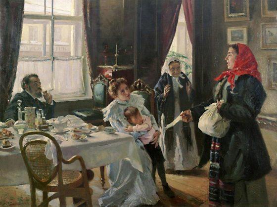 """""""Две матери. Мать приемная и родная"""", В.Е. Маковский (1905-1906)"""