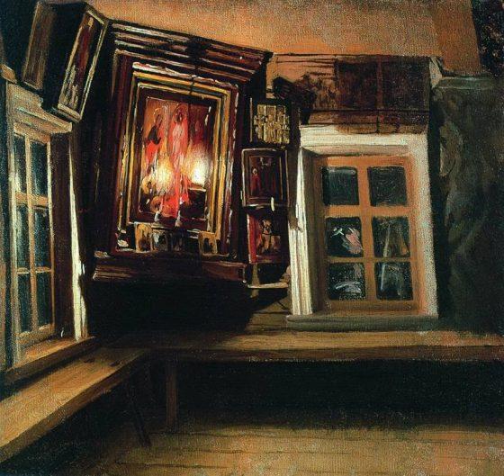 """""""Красный угол в избе"""", М.В. Максимович (1869 г.)"""