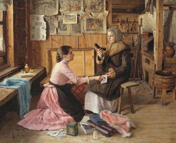 «Жанровая сцена. Разговор у сундука», И.П. Батюков (1893 г.)