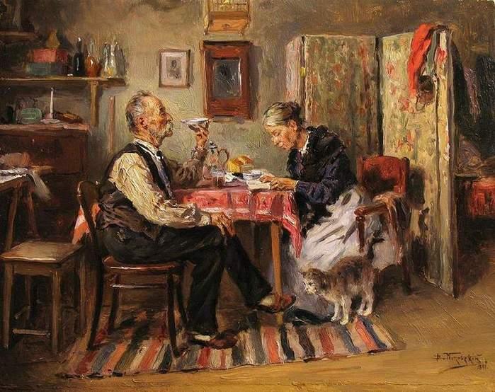 """""""Утреннее чаепитие"""", В. Маковский (1891 г.)"""